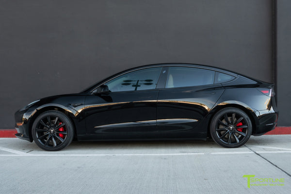 Black Tesla Model 3 with 19