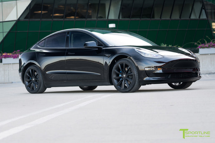 Black Tesla Model 3 - Custom Ocean Blue Leather Interior