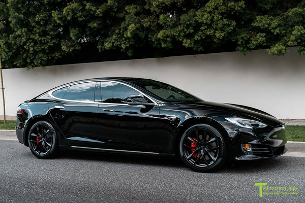 Black Tesla Model S with Matte Black 19