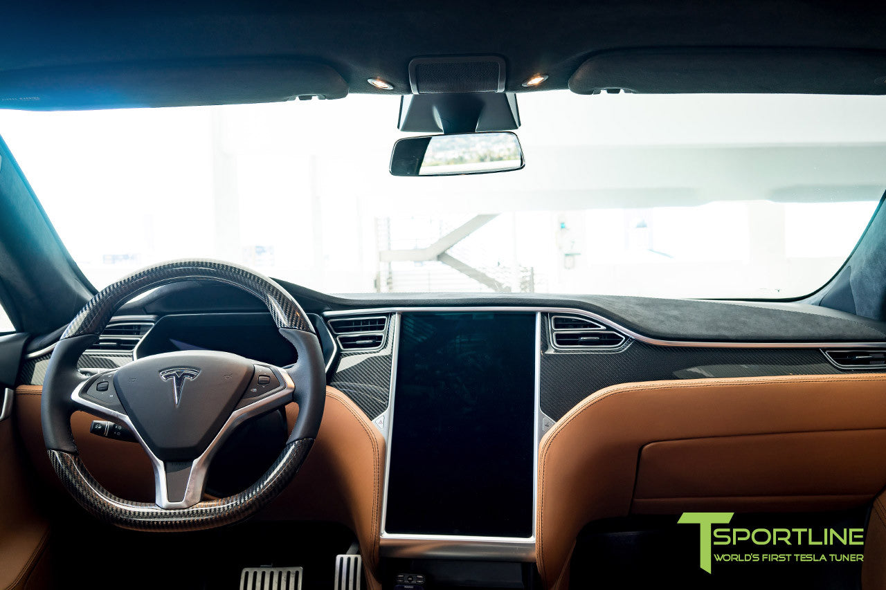 Project Trofeo - Tesla Model S P100D - Custom Ferrari Tan -  Carbon Fiber Dash Kit - Dashboard - Steering Wheel