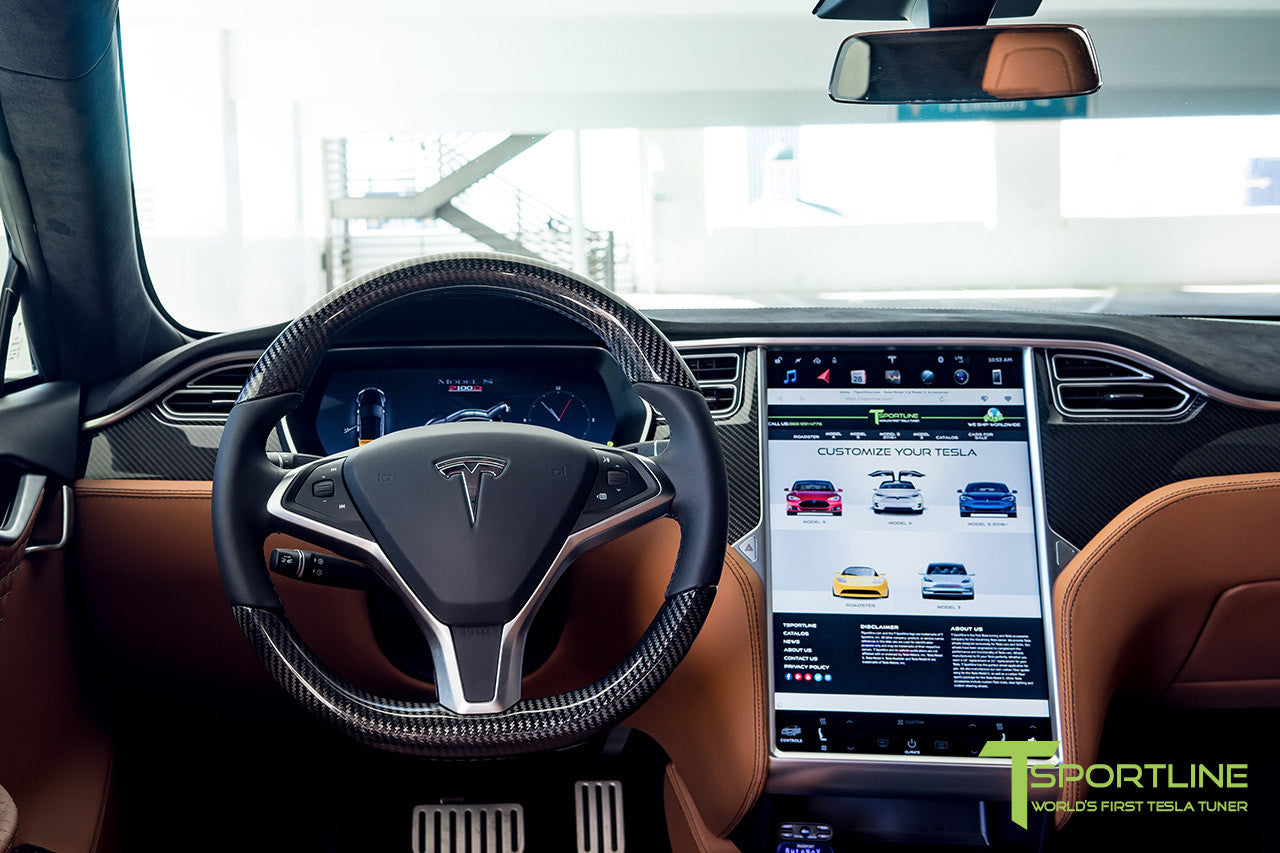 Tesla Model S with Gloss Carbon Fiber Steering Wheel 4