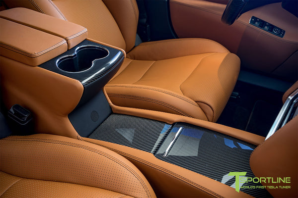 Model S with Gloss Tesla Carbon Fiber Center Console Flip Door and Sliding Tray Panel Set 2