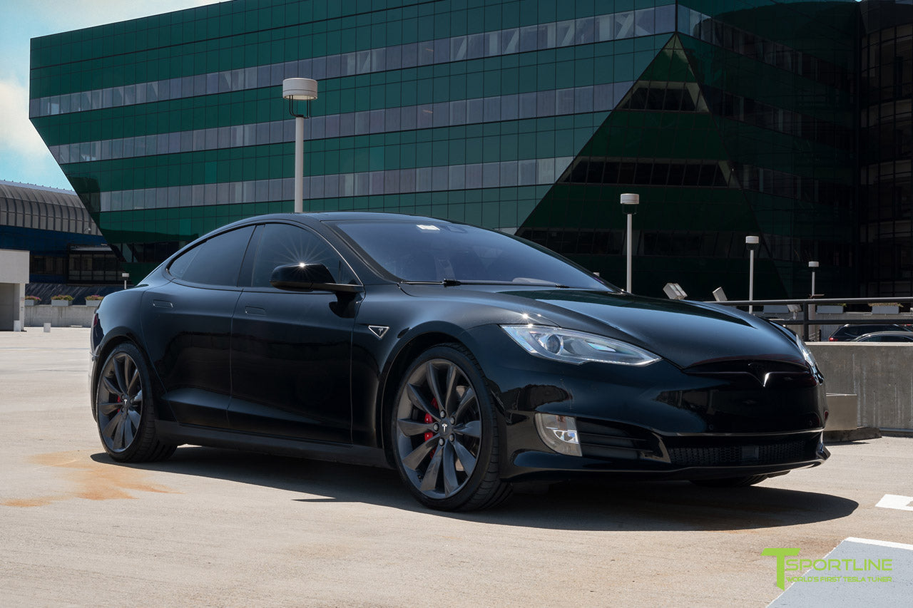 Black Tesla Model S 1.0 (2012 - 2016) Front Bumper Refresh Facelift Retrofit by T Sportline
