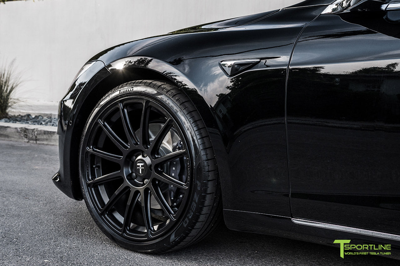 Black Tesla Model S with Matte Black 21 inch TS112 Forged Wheels by T Sportline