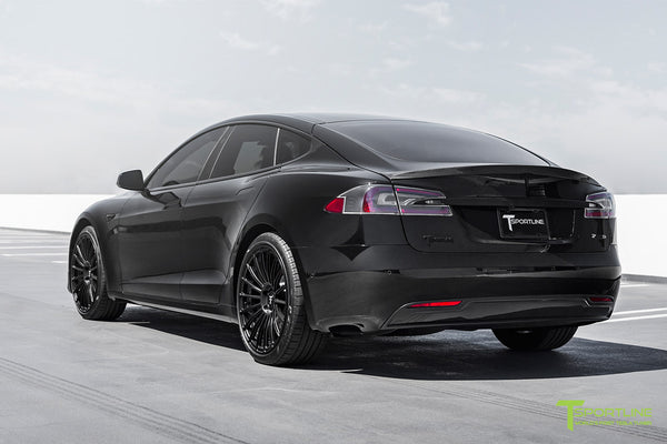 Black Model S with Matte Black TS118 21 inch Forged Tesla Wheels in Matte Black by T Sportline 5