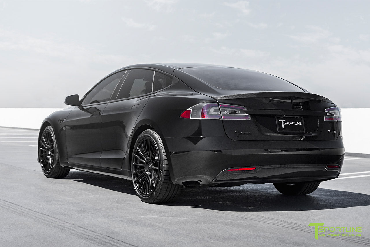 Black Tesla Model S with Gloss Carbon Fiber Sport Kit Package (Front Apron, Trunk Wing Spoiler, and Rear Diffuser) by T Sportline