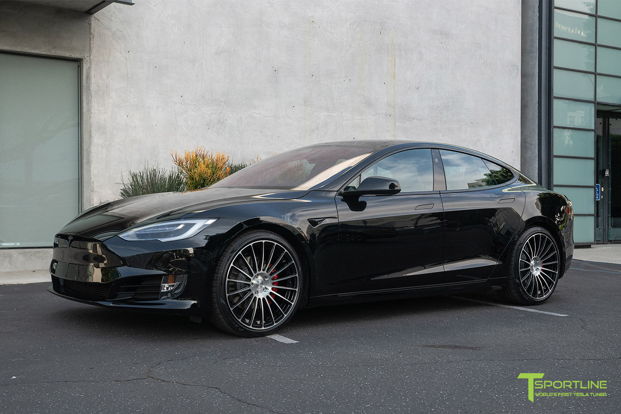 Black Tesla Model S P100D Performance with 21 inch TS118 Forged Tesla Wheels and  Custom Mercedes Benz Stone Leather Interior