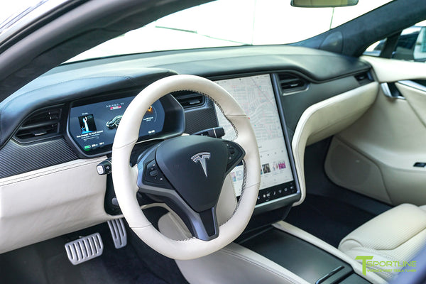 Black Tesla Model S 2.0 P100D with Custom Mercedes Benz Nappa Stone Leather Interior, Reupholstered Steering Wheel, and Matte Carbon Fiber Trim by T Sportline 4