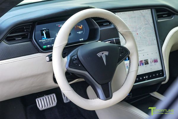 Black Tesla Model S 2.0 P100D with Custom Mercedes Benz Nappa Stone Leather Interior, Reupholstered Steering Wheel, and Matte Carbon Fiber Trim by T Sportline 5