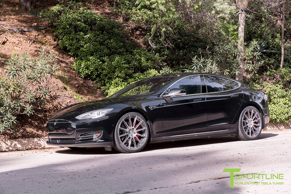 Black Tesla Model S 1.0 with Brush Satin 21 inch TS112 Forged Wheels 1