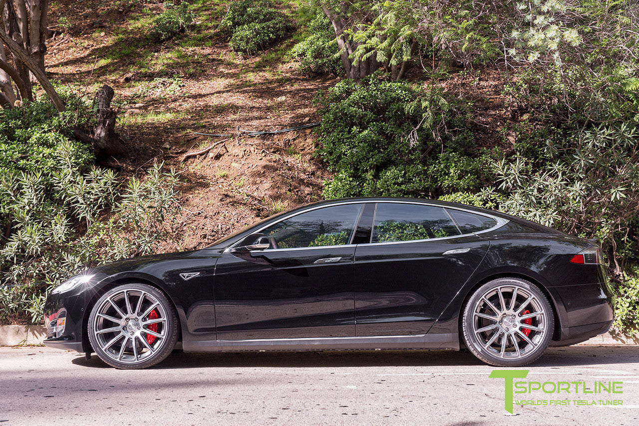 Black Tesla Model S 1.0 with Brush Satin 21 inch TS112 Forged Wheels 2