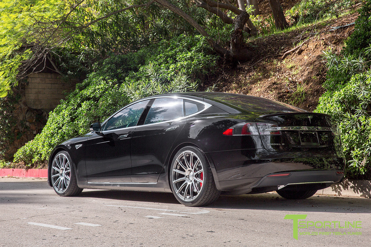 Black Tesla Model S 1.0 with Brush Satin 21 inch TS112 Forged Wheels 3