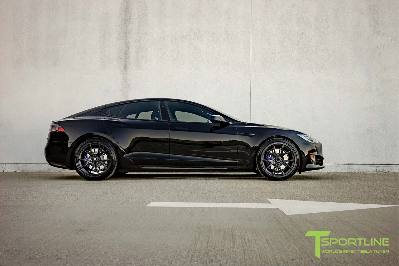 Black Tesla Model S 2.0 with Matte Black 21 inch TS115 Forged Wheels