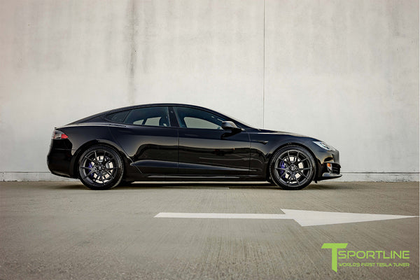 Black Tesla Model S 2.0 with Matte Black 21 inch TS115 Forged Wheels 1