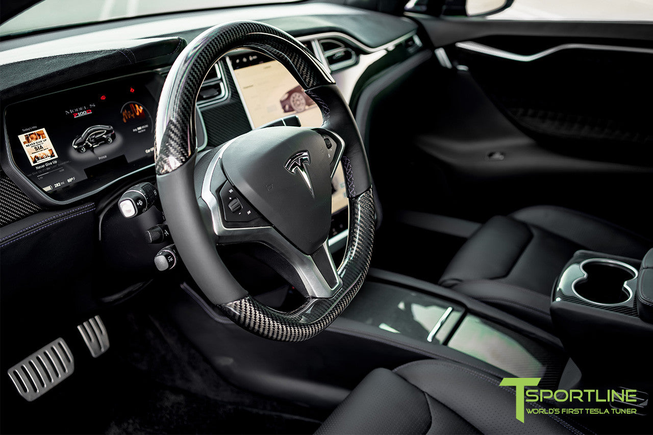 Tesla Model S with Gloss Carbon Fiber Steering Wheel 2
