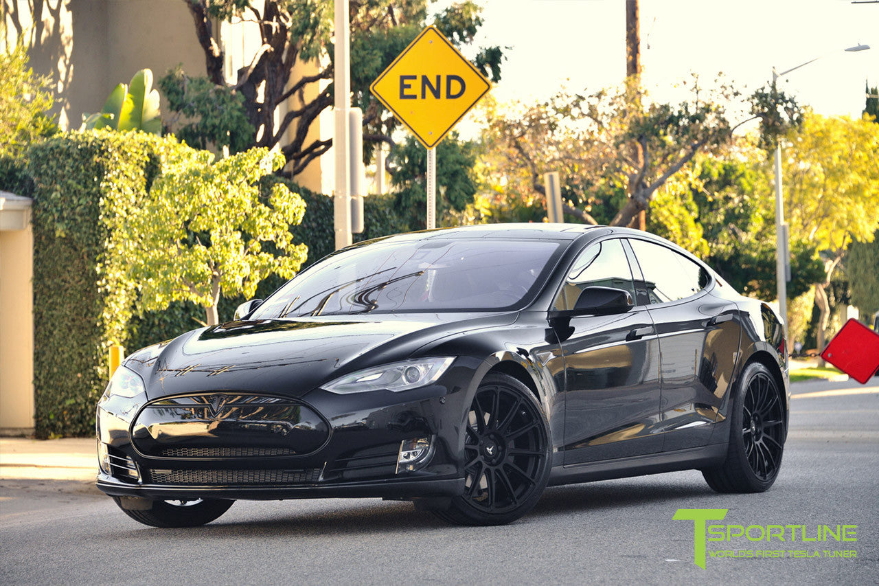 Project LBR - Black Tesla Model S P90D - Custom Ferrari Black Interior - 21 inch Matte Black Forged Wheels - Carbon Fiber Trunk Wing, Front Apron, Diffuser 15