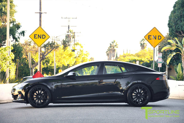 Project LBR - Black Tesla Model S P90D - Custom Ferrari Black Interior - 21 inch Matte Black Forged Wheels - Carbon Fiber Trunk Wing, Front Apron, Diffuser 14