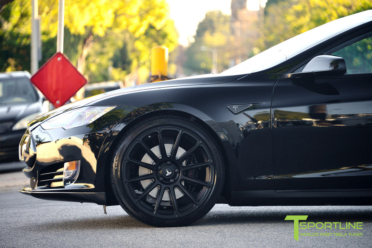 Project LBR - Black Tesla Model S P90D - Custom Ferrari Black Interior - 21 inch Matte Black Forged Wheels - Carbon Fiber Trunk Wing, Front Apron, Diffuser 13