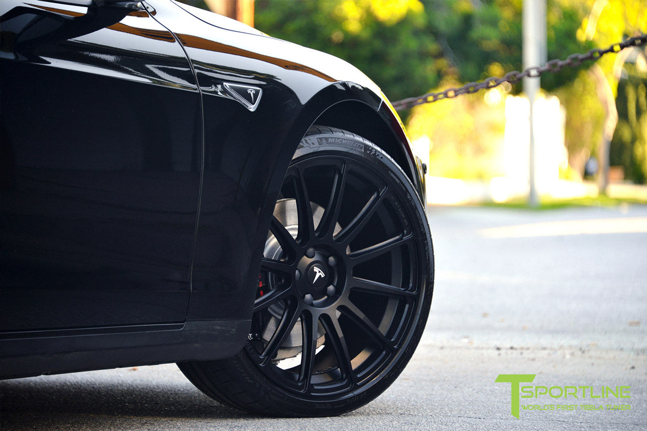 Project LBR - Black Tesla Model S P90D - Custom Ferrari Black Interior - 21 inch Matte Black Forged Wheels - Carbon Fiber Trunk Wing, Front Apron, Diffuser 11