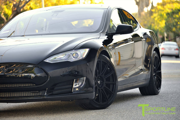 Project LBR - Black Tesla Model S P90D - Custom Ferrari Black Interior - 21 inch Matte Black Forged Wheels - Carbon Fiber Trunk Wing, Front Apron, Diffuser 7