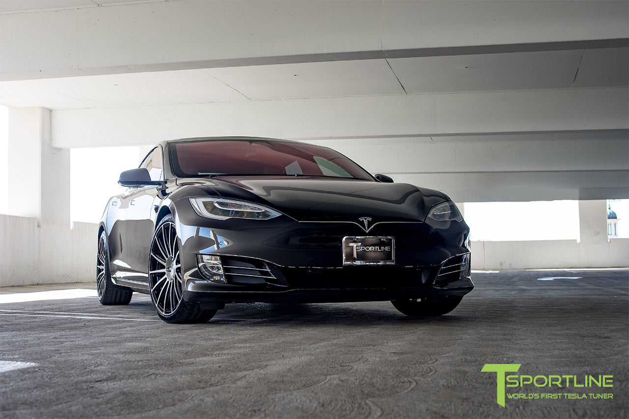 Black Tesla Model S 2.0 with Diamond Black 21 inch TS114 Forged Wheels 1