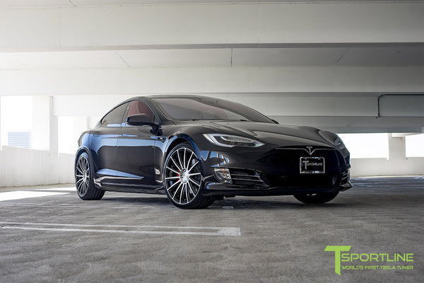 Black Tesla Model S 2.0 with Diamond Black 21 inch TS114 Forged Wheels 2