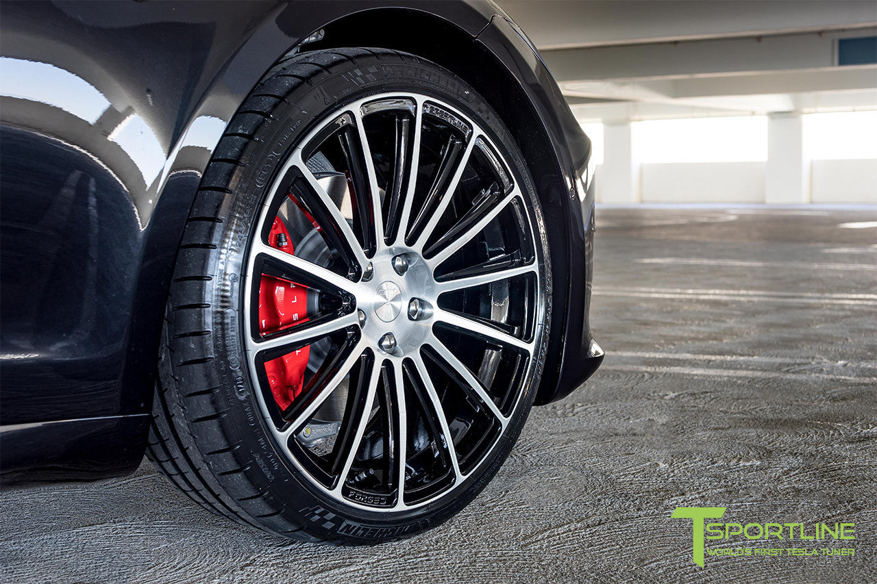 Black Tesla Model S 2.0 with Diamond Black 21 inch TS114 Forged Wheels 4