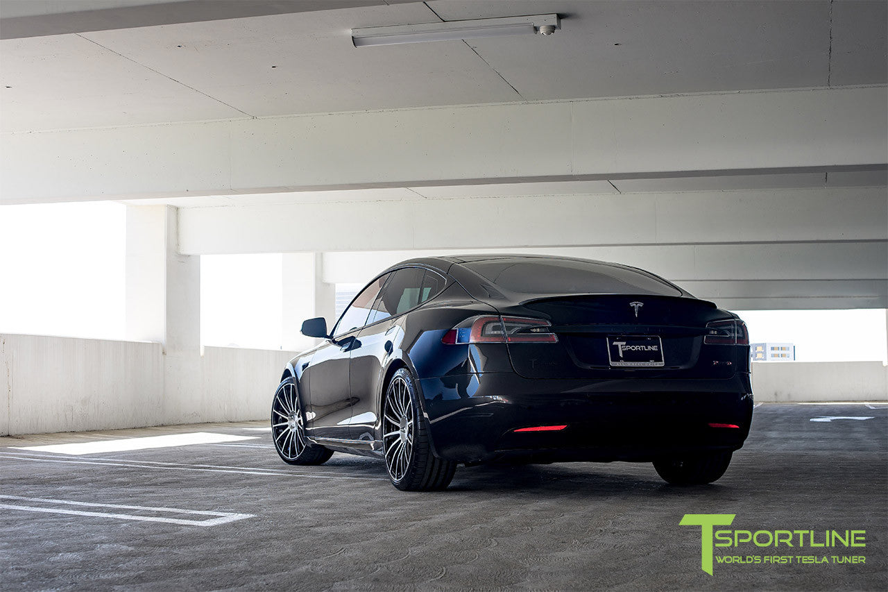 Black Tesla Model S 2.0 with Diamond Black 21 inch TS114 Forged Wheels 5