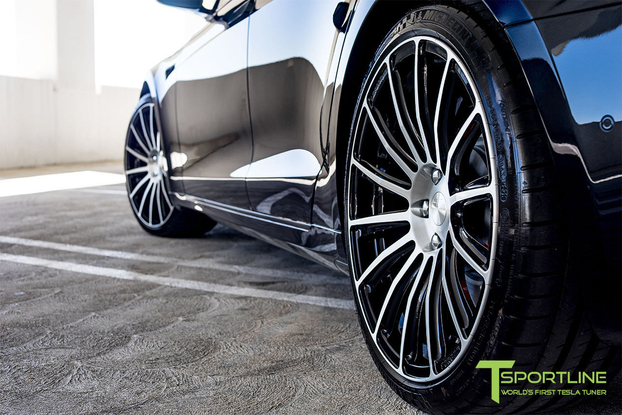 Black Tesla Model S 2.0 with Diamond Black 21 inch TS114 Forged Wheels 6