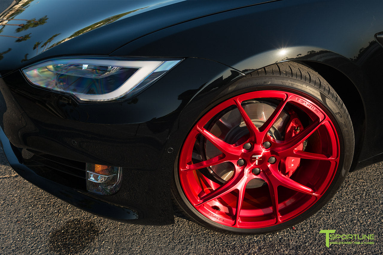 "Black Tesla Model S 2.0 with 21"" TS115 Forged Wheel in Velocity Red by T Sportline"