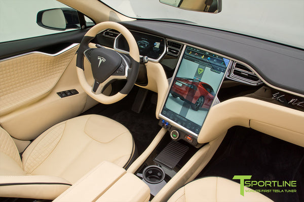 Project TS1 - Tesla Model S 85 - Custom Ferrari Creme Interior - Piano Black - Dashboard - Upholstered Steering Wheel - Elon Musk Signed 5