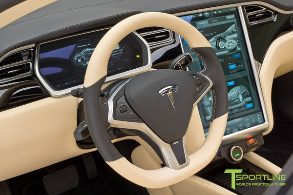 Project TS1 - Tesla Model S 85 - Custom Ferrari Creme Interior - Piano Black - Dashboard - Upholstered Steering Wheel - Elon Musk Signed 4