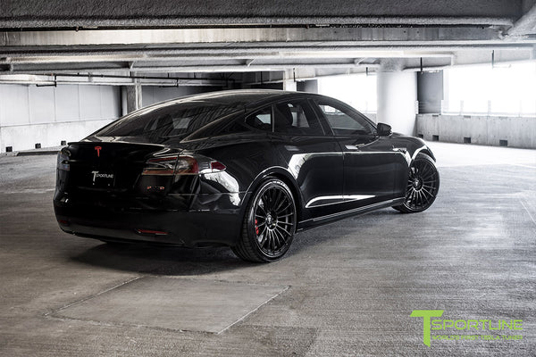 Black Tesla Model S 2.0 with Matte Black 21 inch TS118 Forged Wheels 2