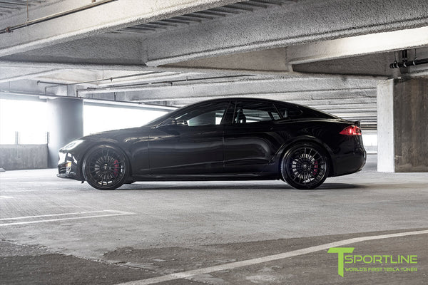 Black Tesla Model S 2.0 with Matte Black 21 inch TS118 Forged Wheels 3