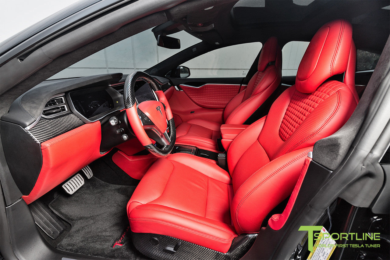 Project TS7 - Model S (2016 Facelift) - Custom Ferrari Rosso Interior - Gloss Carbon Fiber Trim by T Sportline 16