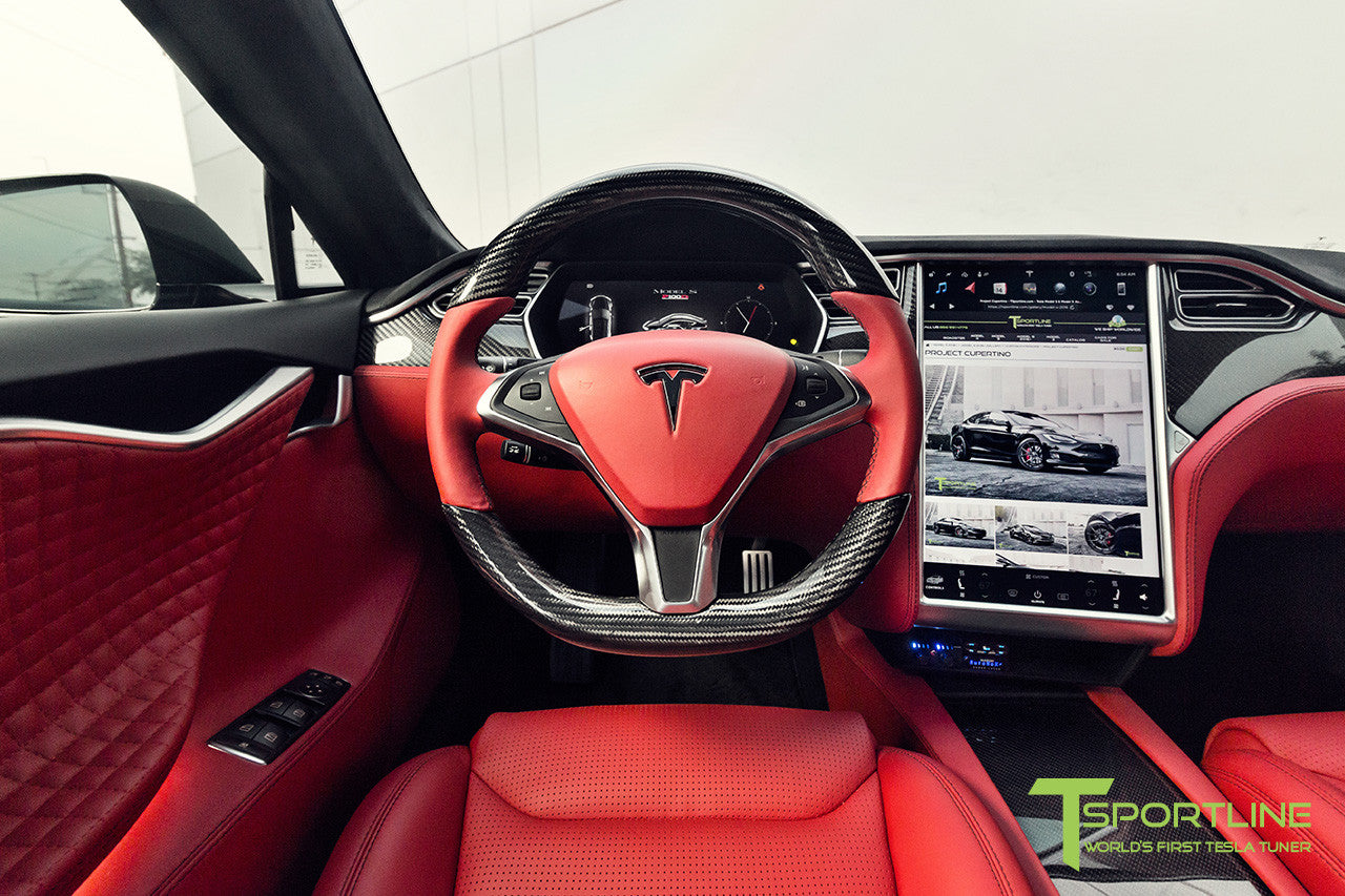 Tesla Model S with Gloss Carbon Fiber Steering Wheel