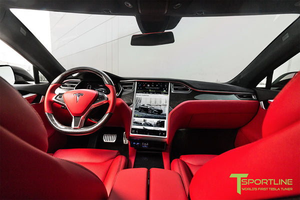 Project TS7 - Tesla Model S P100D - Custom Ferrari Rosso -  Carbon Fiber Dash Kit - Dashboard - Steering Wheel 2