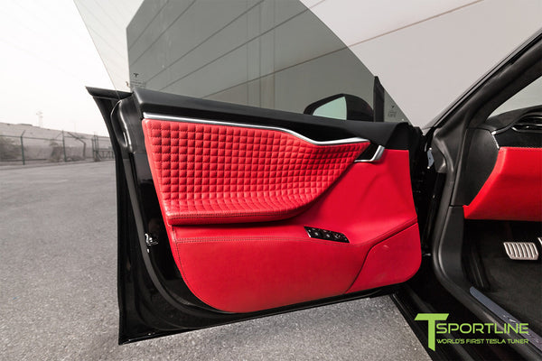 Project TS7 - Model S (2016 Facelift) - Custom Ferrari Rosso Interior - Gloss Carbon Fiber Trim by T Sportline 12
