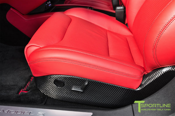 Project TS7 - Model S (2016 Facelift) - Custom Ferrari Rosso Interior - Gloss Carbon Fiber Trim by T Sportline 11
