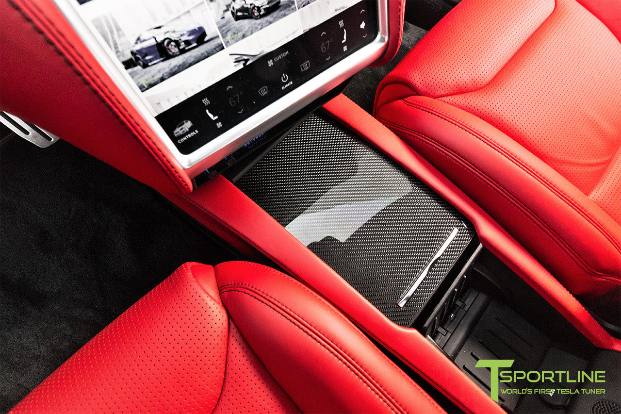 Project TS7 - Model S (2016 Facelift) - Custom Ferrari Rosso Interior - Gloss Carbon Fiber Trim by T Sportline 10