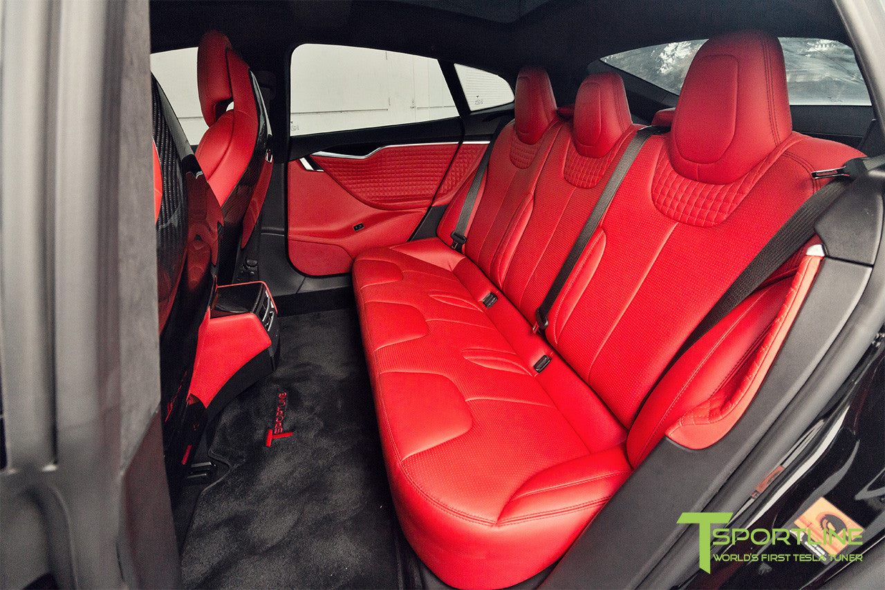 Project TS7 - Model S (2016 Facelift) - Custom Ferrari Rosso Interior - Gloss Carbon Fiber Trim by T Sportline 7