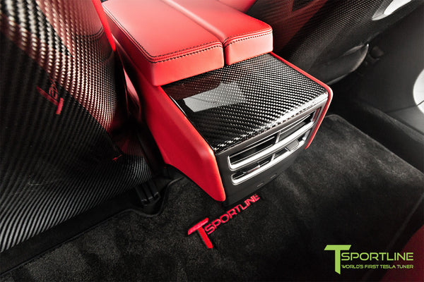 Project TS7 - Model S (2016 Facelift) - Custom Ferrari Rosso Interior - Gloss Carbon Fiber Trim by T Sportline 6