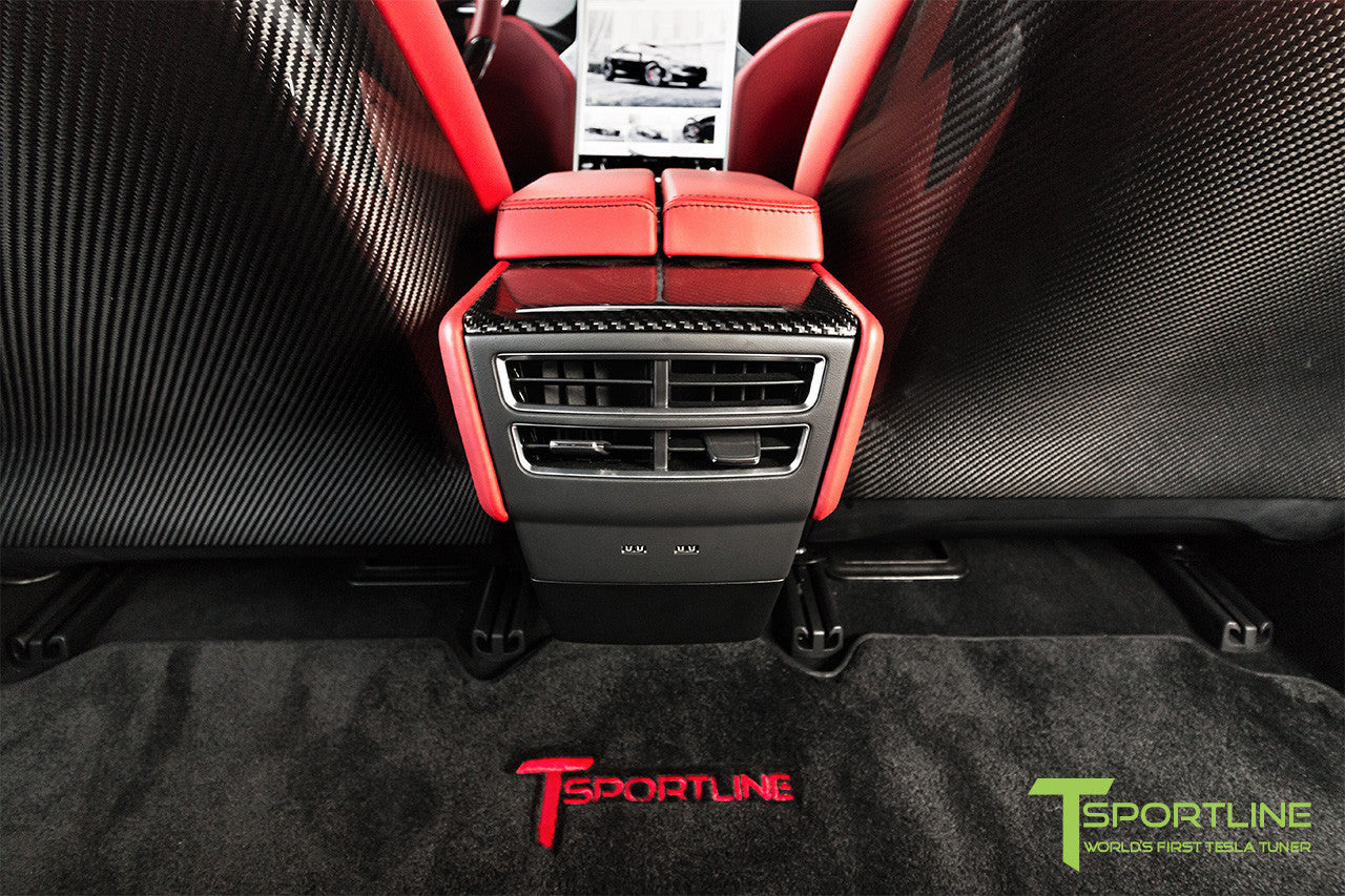 Project TS7 - Model S (2016 Facelift) - Custom Ferrari Rosso Interior - Gloss Carbon Fiber Trim by T Sportline 5