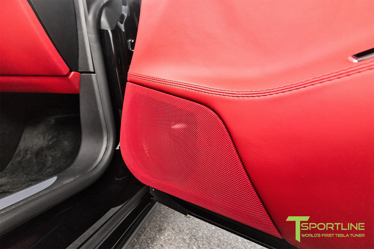 Project TS7 - Model S (2016 Facelift) - Custom Ferrari Rosso Interior - Gloss Carbon Fiber Trim by T Sportline 4