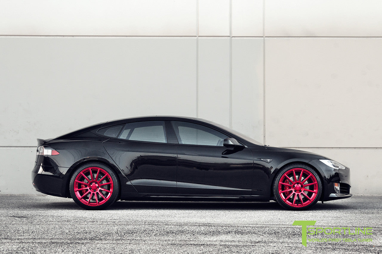 Black Tesla Model S 2.0 with Velocity Red 21 inch TS112 Forged Wheels 1