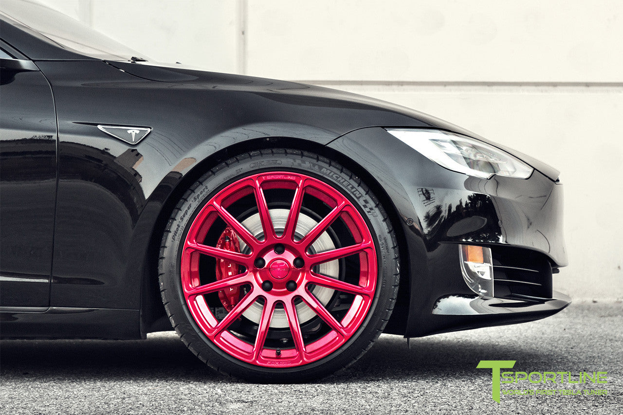 Black Tesla Model S 2.0 with Velocity Red 21 inch TS112 Forged Wheels