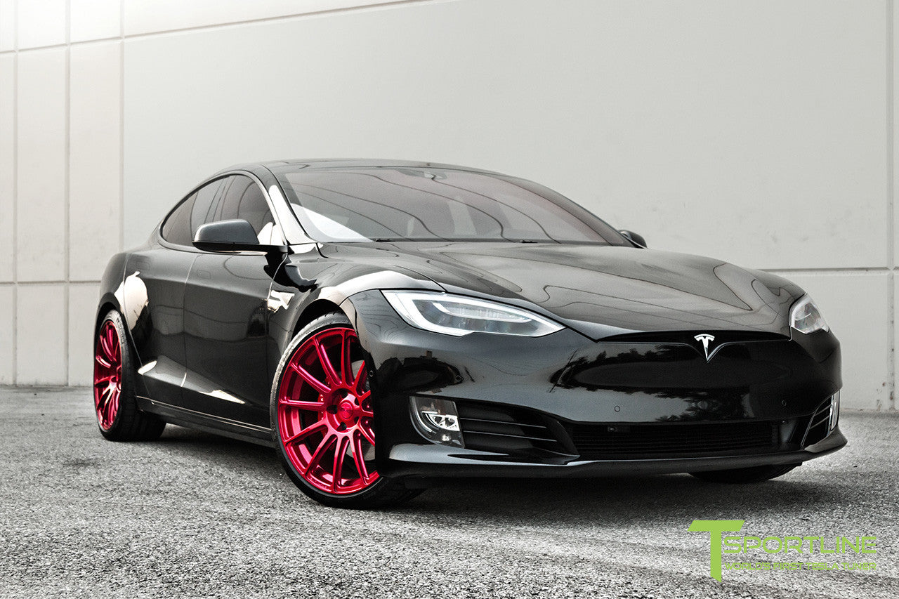 Black Tesla Model S 2.0 with Velocity Red 21 inch TS112 Forged Wheels 4