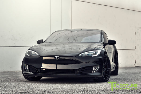 Black Tesla Model S 2.0 with Gloss Black 21 inch TS115 Forged Wheels 1