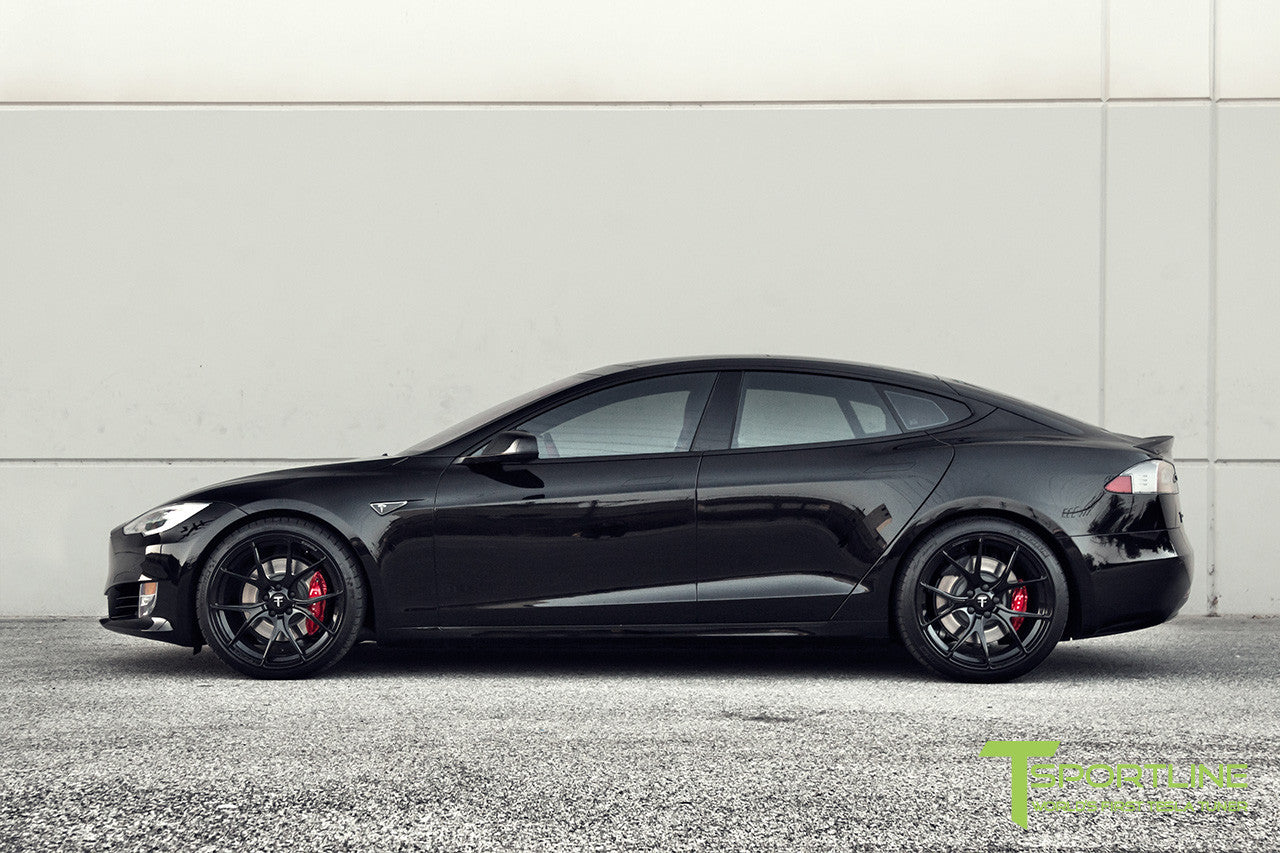 Black Tesla Model S 2.0 with Gloss Black 21 inch TS115 Forged Wheels