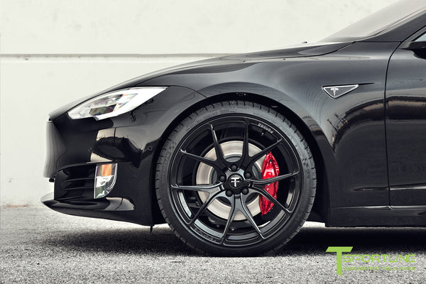Black Tesla Model S 2.0 with Gloss Black 21 inch TS115 Forged Wheels 3
